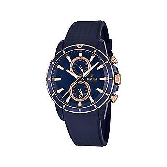 שעון גברים קוורץ המפלגה עם תצוגה הכרונוגרף ורצועת גומי, צבע: שחור, F16851/1