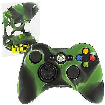 Soft silicone rubber skin grip cover case for microsoft xbox 360 controller - camo green