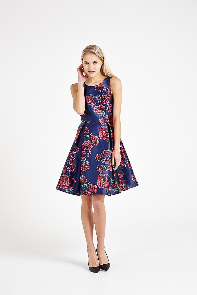 Louche Jostin Floral Print Dress Navy/Pink