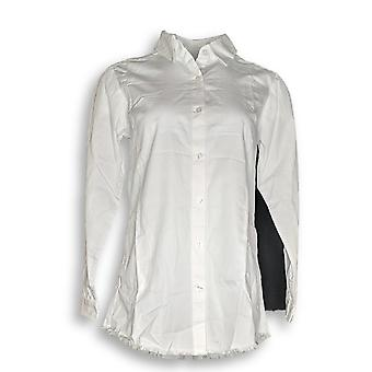 Joan Rivers Classics Collectie Women's Top XXS Denim Shirt White A302801 PTC