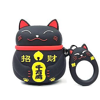 Cartoon silikonfodral för Apple Airpods-kinesisk Lucky Cat-svart