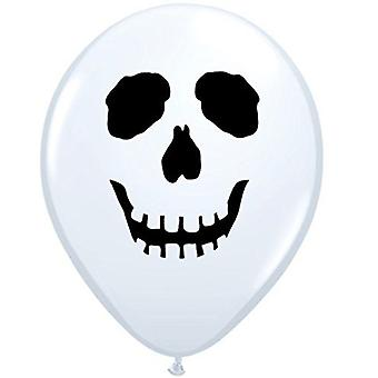 Qualatex 96597 Round Skull Face Latex Ballons Blancs 5 pouces