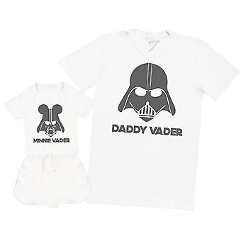 Daddy And Minnie Vader - Mens T Shirt & Baby Girl Playsuit