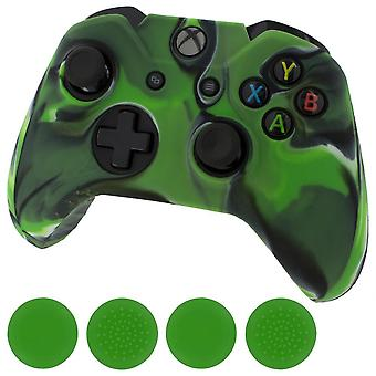 Zedlabz camo green silicone rubber skin grip cover & green thumb grip pack for xbox one controller