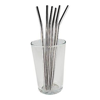 6x curved metal Straw-Silver