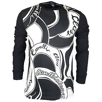 Cavalli Class Cotton All Over Logo Thin Black Sweatshirt