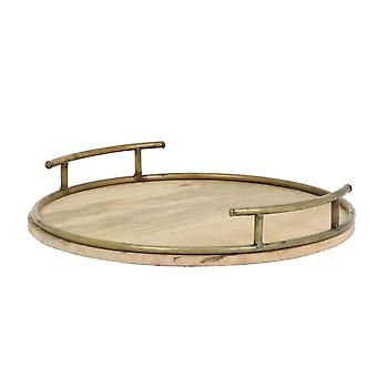 Light & Living Tray 40cm Aswan Wood With Antique Bronze