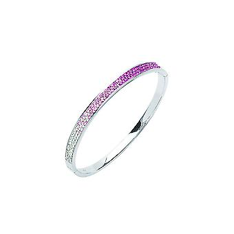 925 Sterling Silver Rhodium Plated Rose Crystal Bangle Bracelet 7 Inch Jewelry Gifts for Women