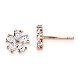 14k Madi K Rose Guldblomma CZ Cubic Zirconia Simulerade Diamond Post Örhängen Smycken Gåvor för kvinnor