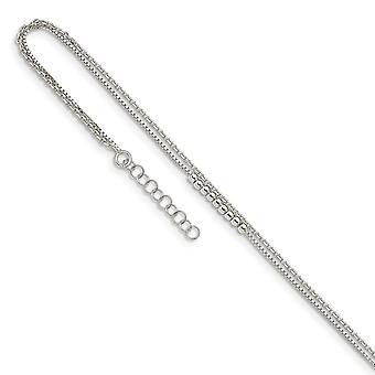925 Sterling Silver 2 Strand korálkové s 1inch ext. Anklet 9 palcov šperky Darčeky pre ženy