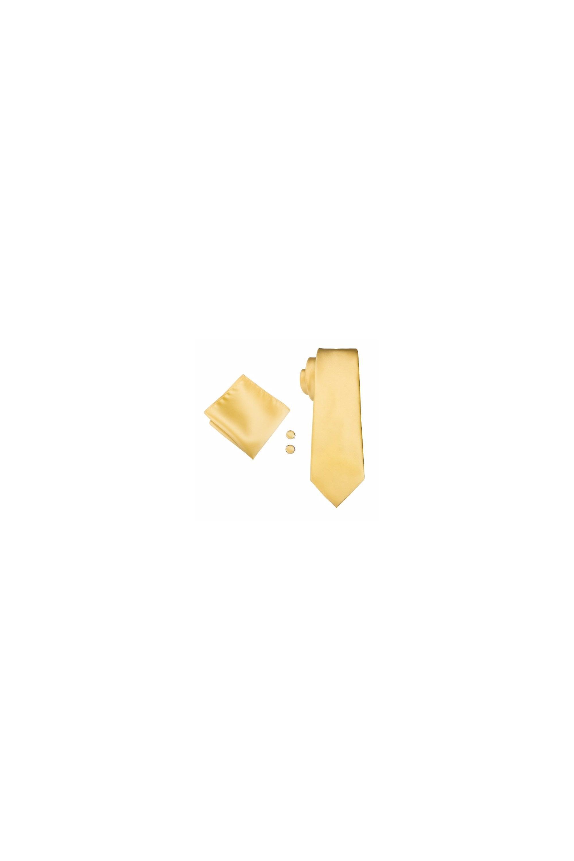 JSS Pale Pastel Yellow Pocket Square, Cufflink And Wedding Tie Set