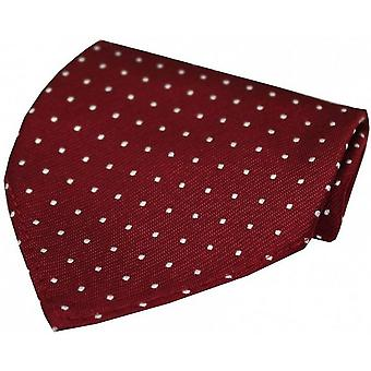 David Van Hagen Pin Dot Luxury Silk Handkerchief - Wine Red/White