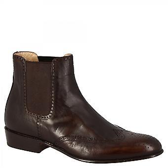 ليوناردو أحذية النساء & ق المصنوعة يدويا نصف brogues الكاحل الأحذية جلد الماعز البني الداكن