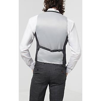 Avail London Mens Grey Waistcoat Skinny Fit Double Breasted Windowpane Check