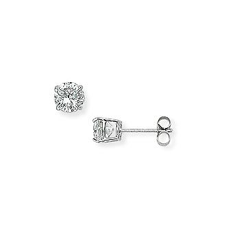 Jewelco London Ladies 9ct White Gold Cubic Zirconia Round Stud Earrings - 5mm