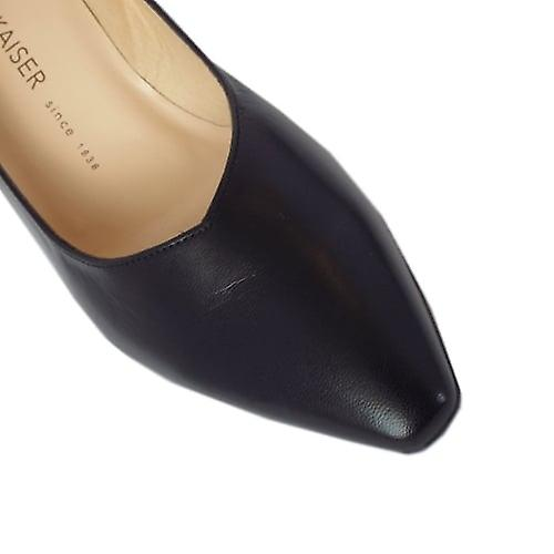 Peter Kaiser Mani Classic Semi-pointed Mid Heel Court Shoes In Black Leather