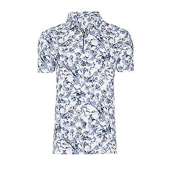 R2 Short Sleeved Patterned Polo Shirt Blue Floral