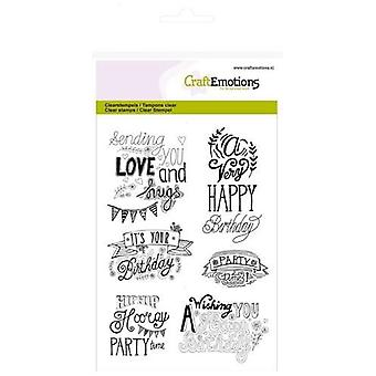 CraftEmotions Clear Stamps A6 - birthday handlettering (Eng)