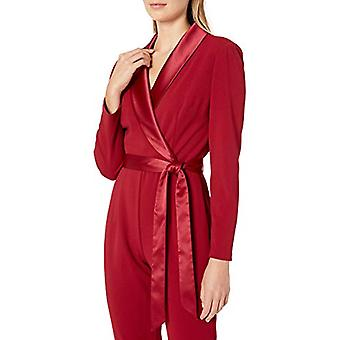 Adrianna Papell Women's Long Sleeve Crepe Jumpsuit with, Red Samba, Size 16.0
