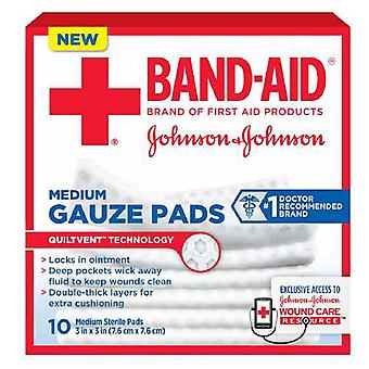 Band-aid first aid gauze pads, medium, 3 inch x 3 inch, 10 ea