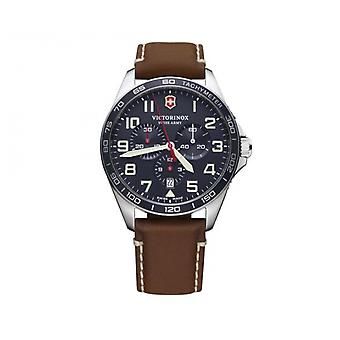 Watch Victorinox 241854 - FieldForce Chronograph/ stainless silver Leather brown dial blue Man