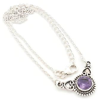 Amethyst Necklace 925 Silver Sterling Silver Necklace Purple (MCO 10-51)
