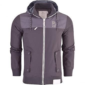 Crosshatch Mens Hooded Summer Jacket Shower Proof Funnel Neck Zip Pockets Hood Coat