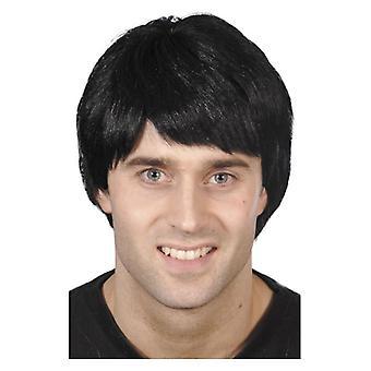 Hombres negro corto peluca disfraces accesorios
