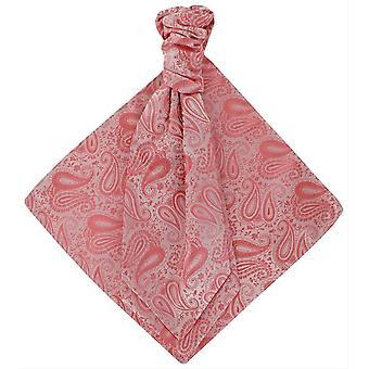 Michelsons London tonala Paisley kravatt och Pocket Square Set - korallrosa