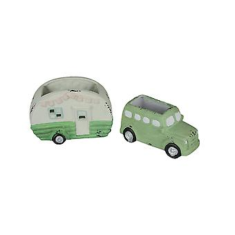 Set of Distressed Finish Vintage Truck and Travel Camper Ceramic Planters