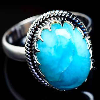 Larimar Ring Size 9.75 (925 Sterling Silver)  - Handmade Boho Vintage Jewelry RING4587