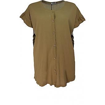 Masai Clothing Latoya Khaki Frilled Edged Cardigan