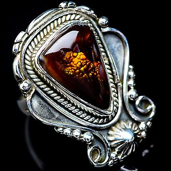 Large Mexican Fire Agate Ring Size 6.25 (925 Sterling Silver)  - Handmade Boho Vintage Jewelry RING5902
