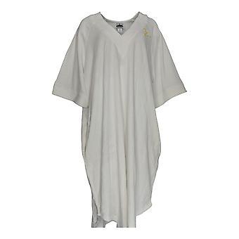 Metropolitan Women's Robe Baby Terry Pullover V Monogram White