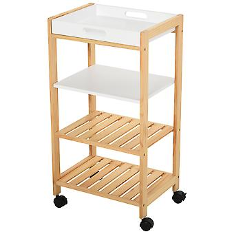 HOMCOM 4-Tier Moving Trolley MDF Wood Blend w/ Tray Shelves 4 Wheels Home Office Cart Storage Island Unit White Brown