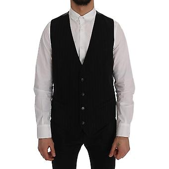 Dolce & Gabbana Black Staff Cotton Striped Vest SIG60353-1