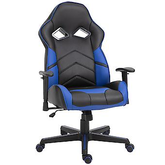 Vinsetto PU Leather Gaming Chair Stylish PU Leather Blue Panels Ergonomic Swivel w/ 5 Wheels Adjustable Height Armrests Home Office Racking Comfortable Black