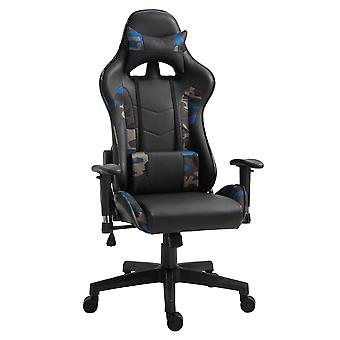 Vinsetto USB Massage Pillow Office Chair w/ Camouflage Panels Ergonomic Swivel w/ 5 Wheels Adjustable Arms Height High Back Racing Gaming Blue