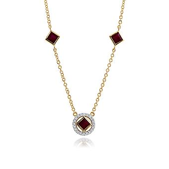 Classic Square Ruby & Diamond Halo Necklace in 9ct Yellow Gold 135N0278019
