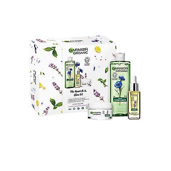 Garnier Organické Nourish a Záře Kit Anti Age denní péče, obličejový olej, micelární