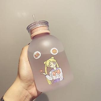Transparent Plastic Water Bottle Cartoon Frosted- Water Bottles Leak Proof