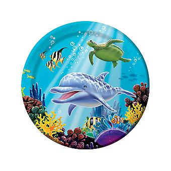 8 Large Ocean Party Printed Plates - Sealife Parties