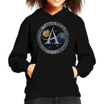 NASA Apollo Program Logo Badge Distressed Kid's Hooded Sweatshirt