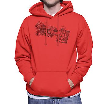 Motorsport Images Benetton B186 1986 Outline Men's Hooded Sweatshirt
