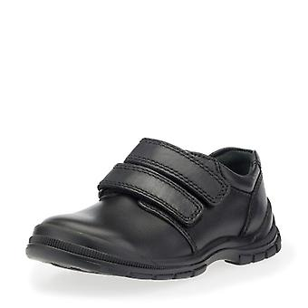 Start-rite engineer black double velcro school shoes (wide)