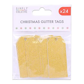 Simply Creative Christmas Glitter Tags Gold (24pcs) (SCTOP034X19)