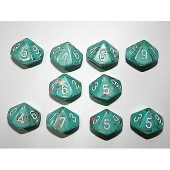 Chessex 10 x D10 Dice Set - Marble Oxi-Copper / white