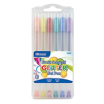 17050-24, BAZIC 6 Fruit Scented Glitter Color Gel Pen with Case