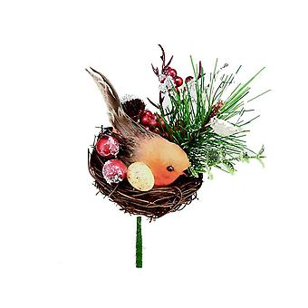 Premier Robin In A Nest Pick Christmas Decoration