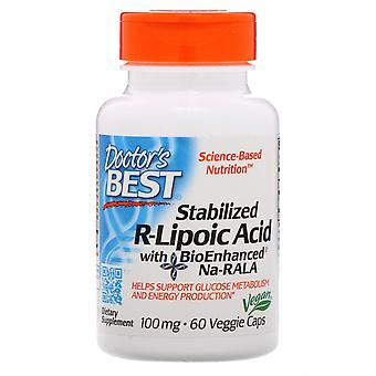 Doctor's Best, Stabilized R-Lipoic Acid with BioEnhanced Na-RALA, 100 mg, 60 Veg